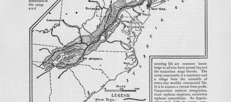 Photo of Benton MacKaye's original map of the Appalachian Trail. Used by permission. Source: The American Institute of Architects Archives, Washington, D.C.