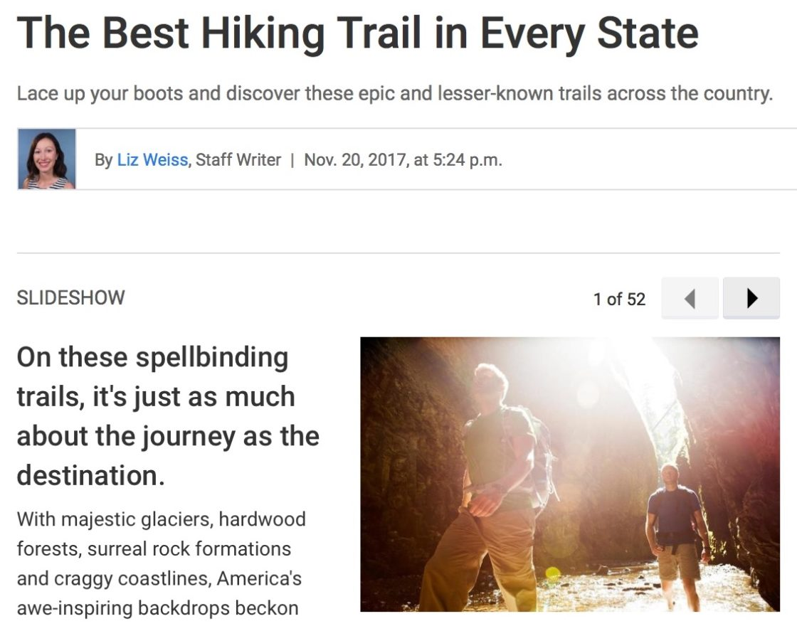 Best hiking trail in each state