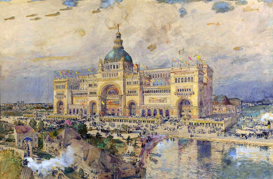 Childe Hassam's watercolor of Steele MacKaye's Spectatorium