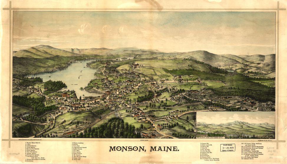 Monson, Maine historical map