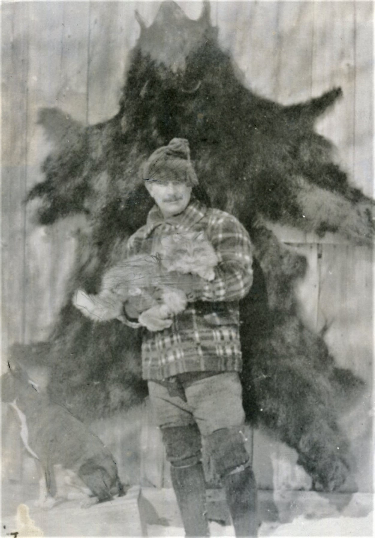 JIM WHYTE AND FRIEND AT HIS CABIN, CA. WINTER 1905